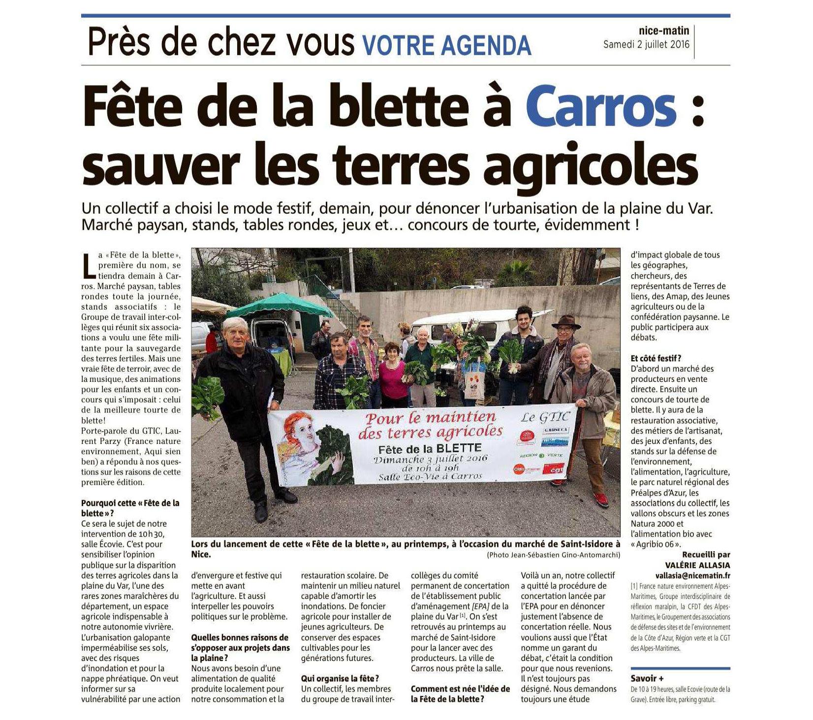 Fête de la blette à Carros : sauver les terres agricoles [Article : Nice Matin, le 2/07/2016]
